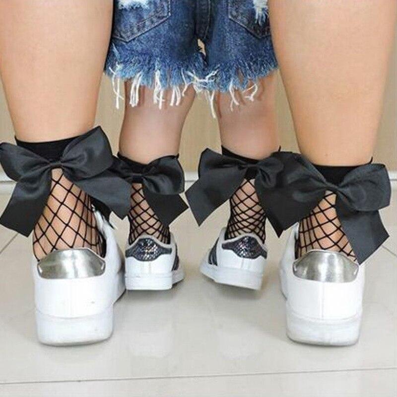 fishnet ankle socks Casual Stretch Sheer Fishnet Net Kids Socks Mesh Ankle High Bowknot Comfort Socks