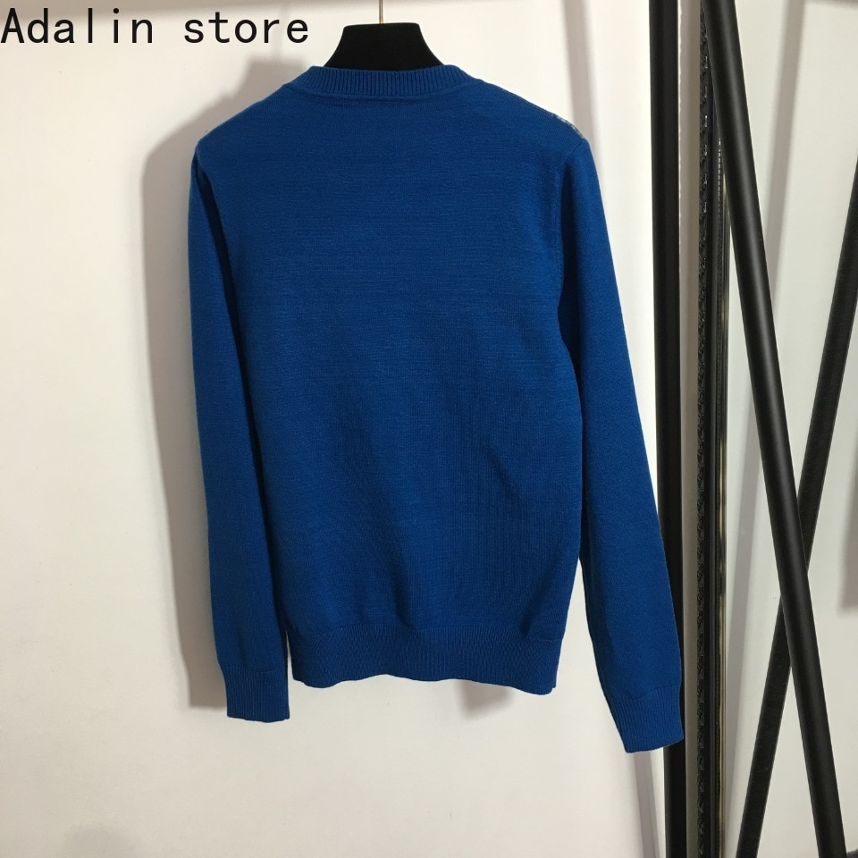 2021 high quality autumn new fashion women's five pointed star map embroidery round neck knitted pullover long sleeve sweater enlarge