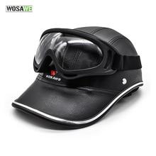 WOSAWE PU Elektrische Fahrrad Roller Reiten Helm und Anti-Uv Goggle Motorrad Radfahren Halb Offen Gesicht Helm Baseball Kappe