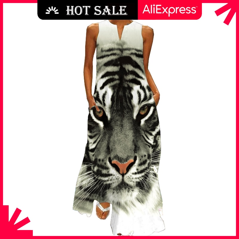MOVOKAKA Fashion Tiger Print White Dress 2021 Summer Beach Casual Plus Size Long Dresses Woman Sleev