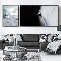 Peinture a lhuile de paysage Animal  toile dart cheval blanc  salon  couloir  bar  decoration murale de maison