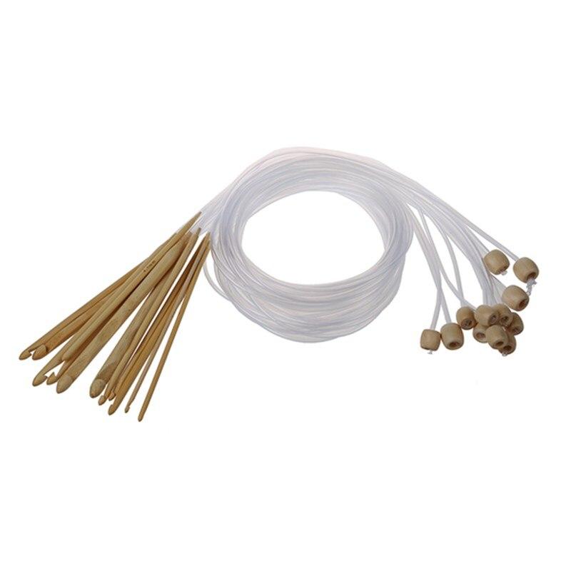 Agujas de ganchillo de 12 tamaños de bambú blanqueado afgano tunecino 3,0-10,0mm