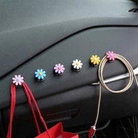 2pcs cute little flower on board multi function storage small hooks with hooks affixed to the front of the car