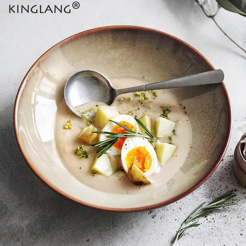 Kinglang جديد طبق للسلطة الإبداعية سلطانية خزف للشوربة وعاء الأرز كبيرة اليابانية مطعم أدوات المائدة أطباق Sallow