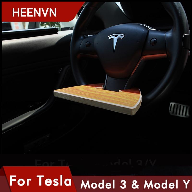 Heenvn ل تسلا نموذج 3 Y 2021 اكسسوارات المحمولة صينية طعام عجلة توجيه سيارة المحمولة طاولة خشبية