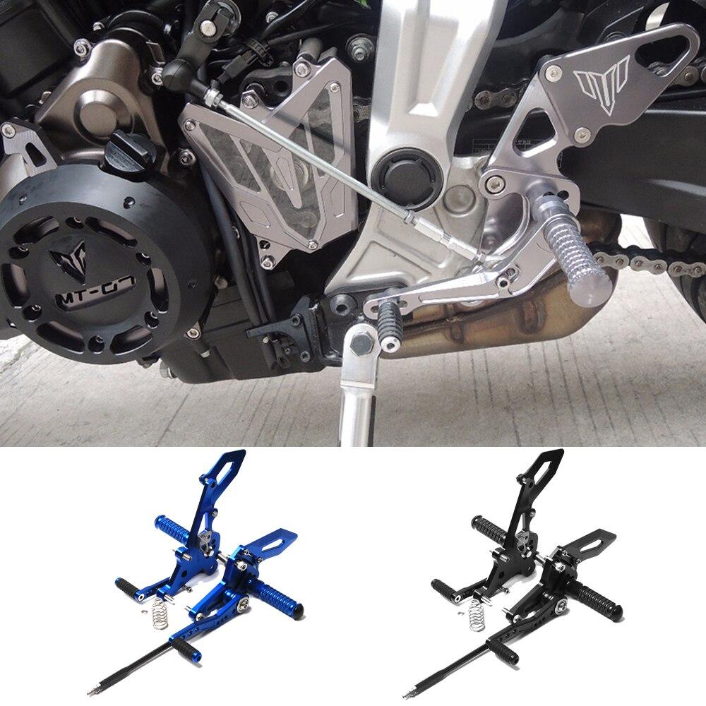 Motocicleta cnc da liga de alumínio ajustável conjunto traseiro rearsets apoio para os pés para yamaha MT-07 mt 07 mt07 FZ-07 2014-2017 2016