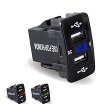 Double chargeur de voiture USB avec volt mètre 12 V-24 v LED affichage modifié USB chargeur de voiture rapide 2 port USB pour Honda