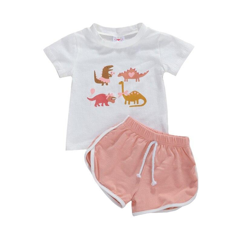 Kids Girls Summer Clothes Set Casual Pullover Cartoon Dinosaur Printed O-Neck Short Sleeve Blouse Sports Shorts 2Pcs Cotton Suit