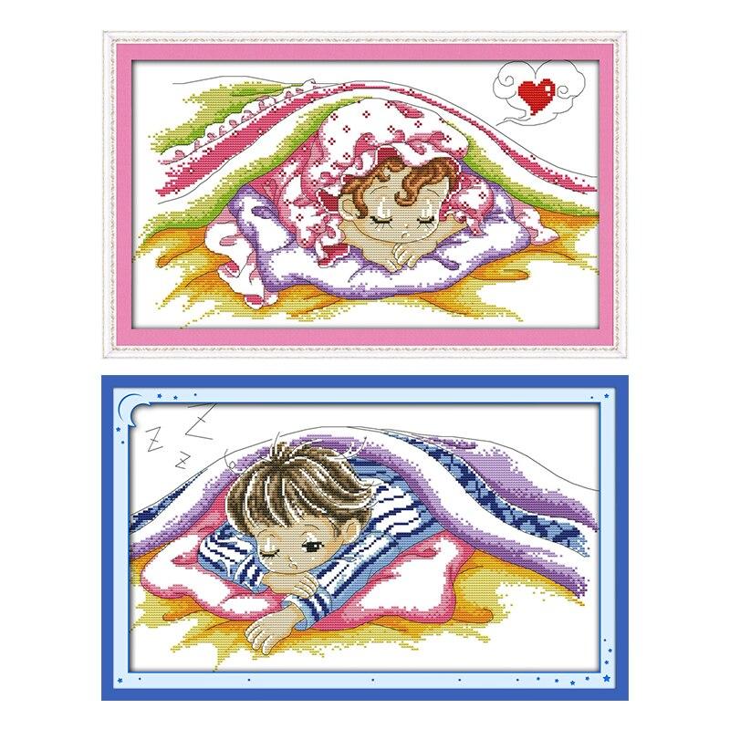 Kits de punto de cruz con cuentas para bebé de ensueño, 14CT, impreso en lienzo, Kits de bordado DMC, hilos de 11 quilates, DIY, costura, decoración del hogar