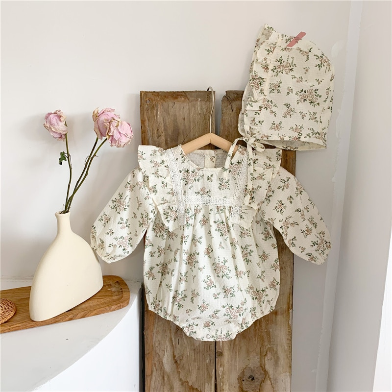 Spring autumn baby girls floral long sleeve rompers bodysuits and hat toddler girl soft comfortable