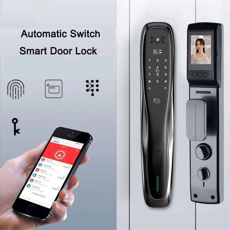 Review Mobile APP Unlocking Home Outdoor Smart Electronic Door Lock With Camera Fingerprint Magnetic Card Password Video Capture