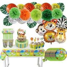 Safari Party Servies Set Verjaardagsfeestje Decoratie Kids Plaat Kopjes Hoeden Tafelkleed Stro Dier Jungle Verjaardag Decor Levert