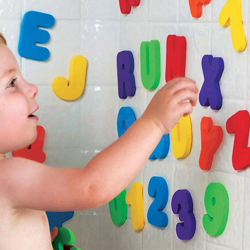 Esponja de espuma para crianças, 36 peças, para recém-nascidos, números flutuantes, banheira, natação, brinquedo para presente