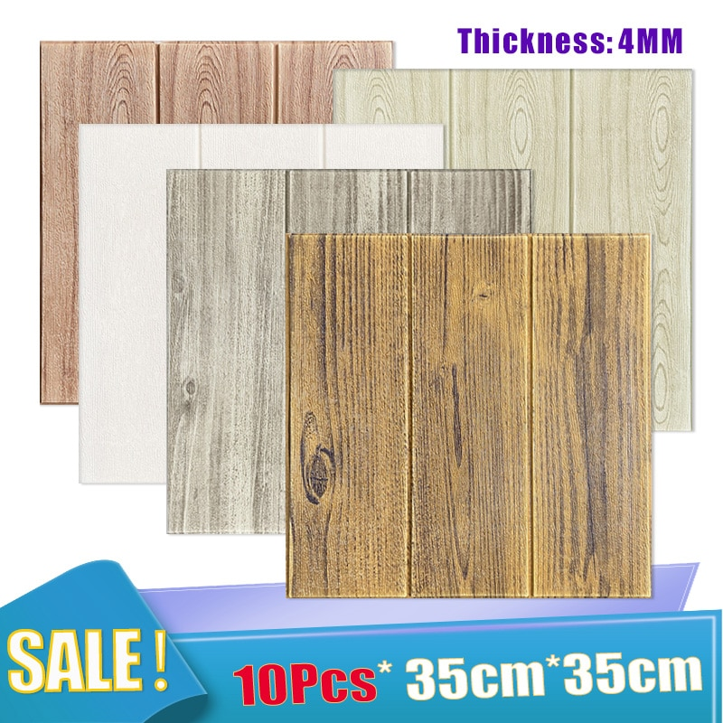 Self-Adhesive Wood Grain Wallpaper 3D Foam Wall Sticker Waterproof Wallpaper Panel for TV Background Living Room Mural Bedroom
