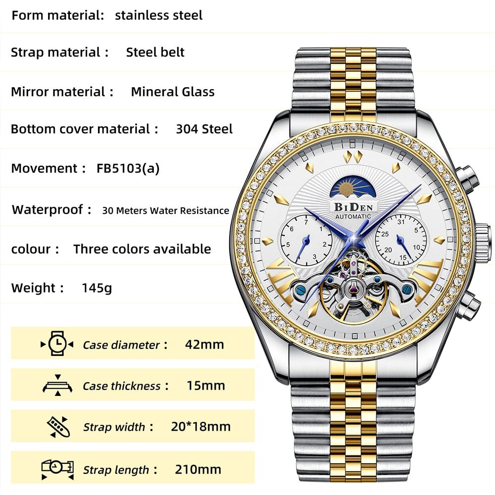Mens Watches Tourbillon Hollow Waterproof Automatic Mechanical Watch Date Calendar Multifunction Full Steel AAA Jewelry Clocks enlarge