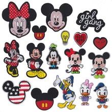 Parche de dibujos animados de Mickey de disney para planchar, parches bordados para ropa, pegatinas de tela de paraguas para niños, apliques para ropa