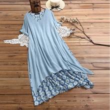 Grande taille femmes Boho longues Maxi robes tunique faux deux pièces coton-lin robe irrégulière femme Sundress robes de plage en vrac