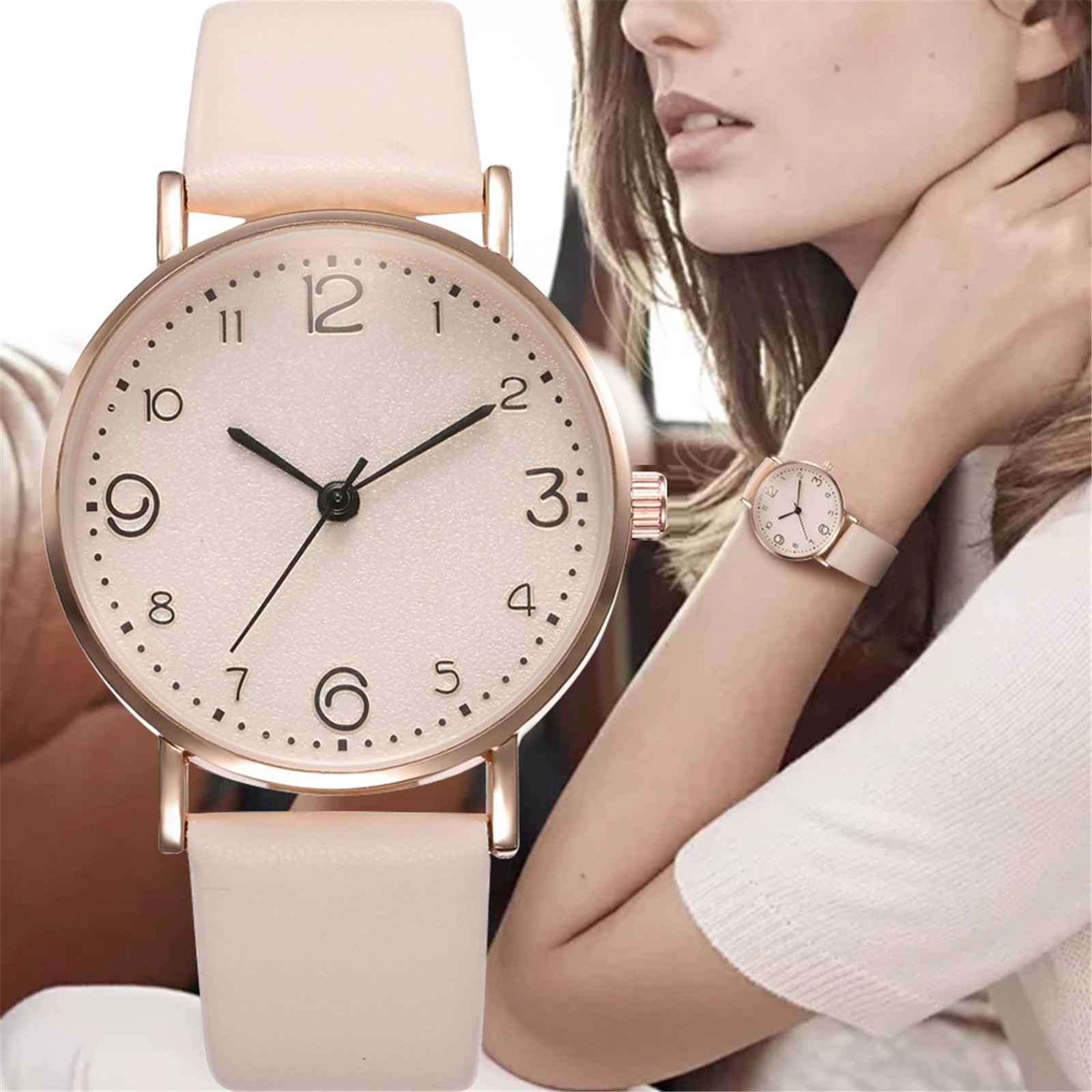 New Women Luxury Quartz Alloy Watch Ladies Fashion Stainless Steel Dial Casual Bracele Watch Leather