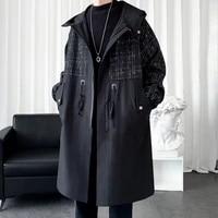 autumn winter long trench coat menfashion loose mens woolen coat mens korean casual jacket mens streetwear stitching parker