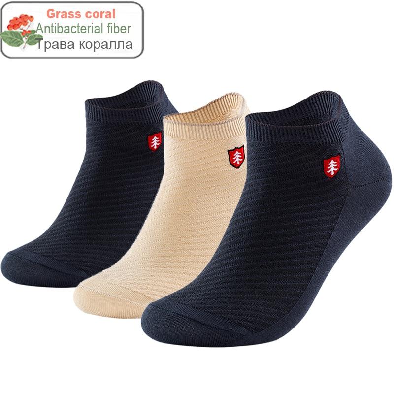 2020 Brand High Quality Grass Coral Fiber Men Socks Antibacterial Deodorant Embroidery Boat Ankle Socks Men Gifts Summer Socks
