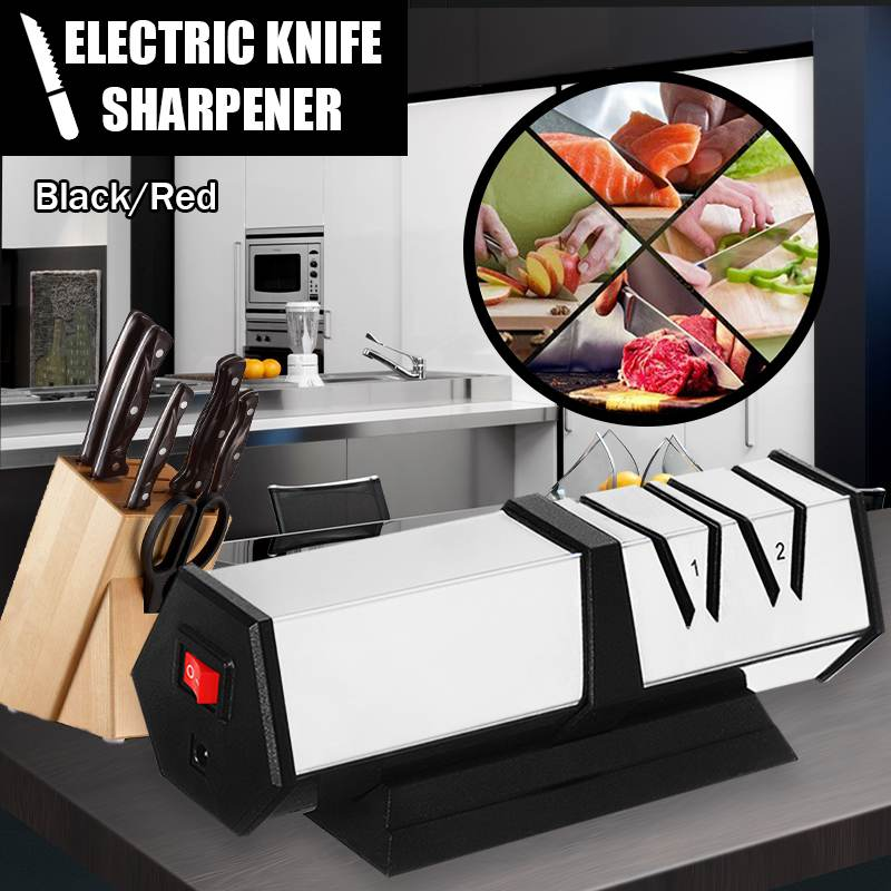 Afilador de cuchillos eléctrico para cocina, afilador de cuchillos de cerámica motorizado de 150W 2, amoladora con sistema de afilado giratorio para cuchillos inoxidables