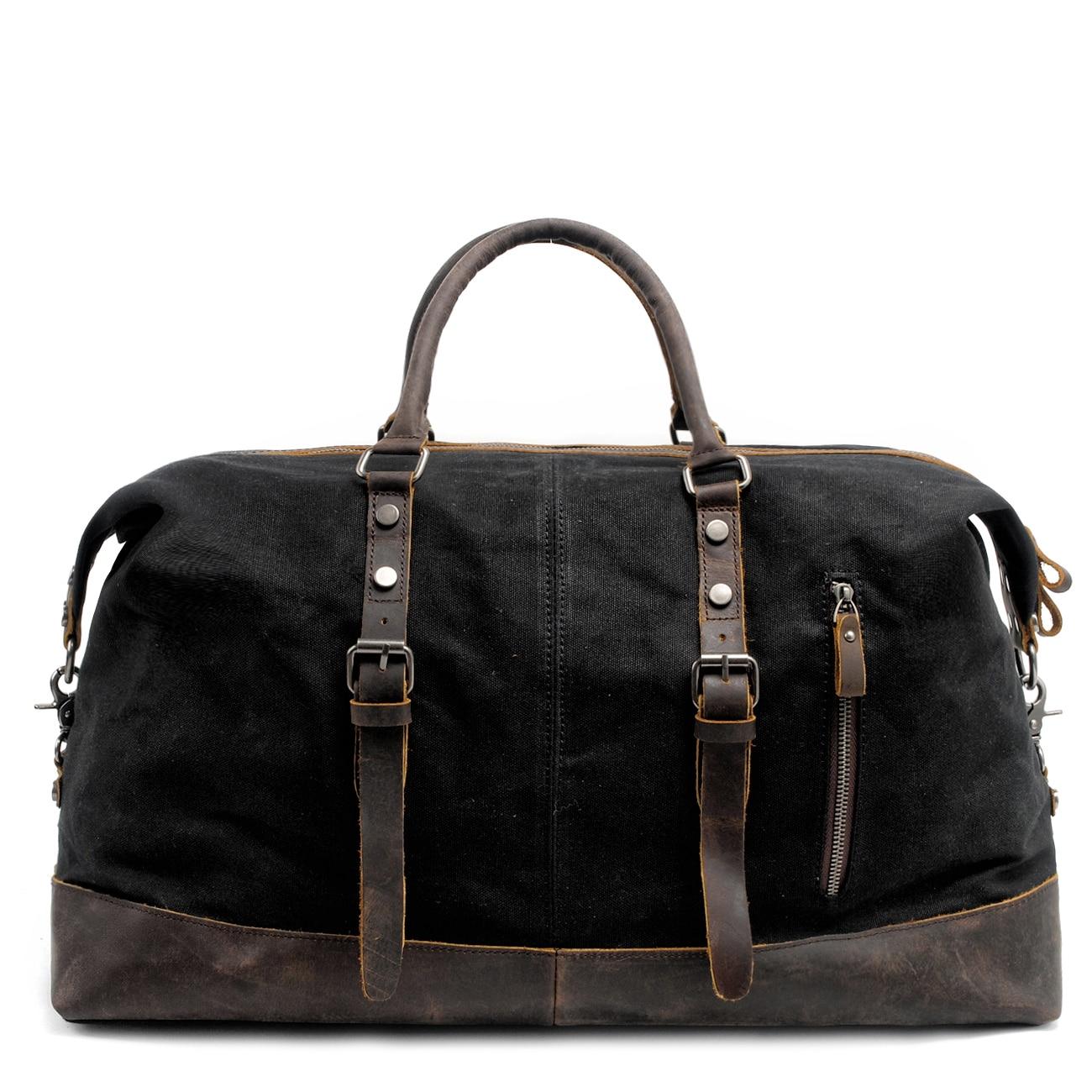 Новые модные повседневные мужские дорожные сумки, ручной чемодан, холщовые Кожаные Дорожные вещевые сумки, вместительные сумки на плечо
