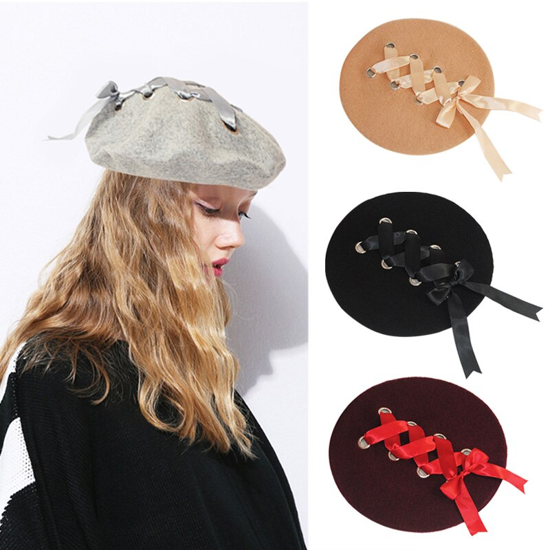 1 Pcs Women Ribbon Lace-up Wool French Beret Hats Casual Beanie Hats Lady Artist Cap -OPK