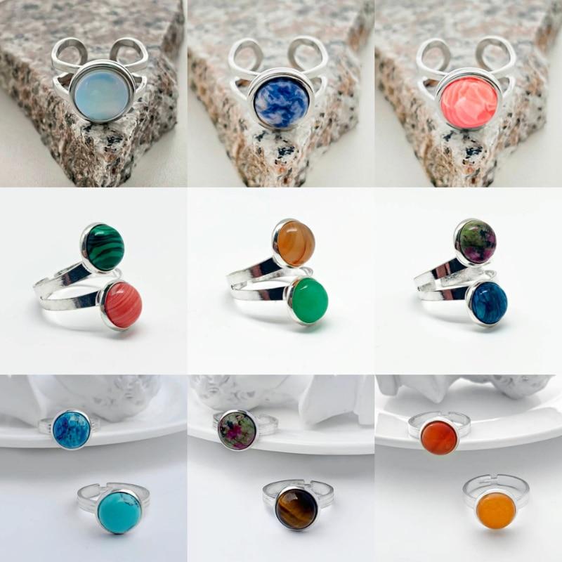 Trendy Natuursteen Ringen Voor Vrouwen Paar Trouwringen Rvs Ring Partij Sieraden Handgemaakte Ring 2021