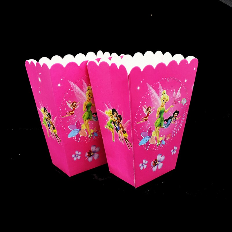 6 unids/lote TinkerBell palomitas cajas TinkerBell tema cumpleaños fiesta decoraciones para baby shower TinkerBell caja de dulces