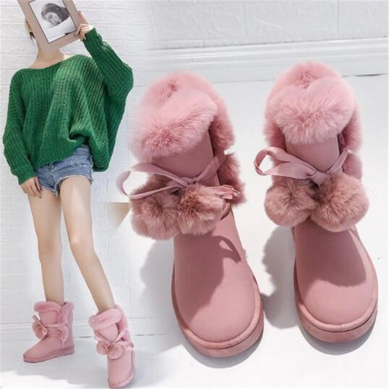 2022 New Warm Fur Women Snow Boots Cute Suede Winter Shoes Fur Ball Mid-Calf Boots Female Fashion Bo