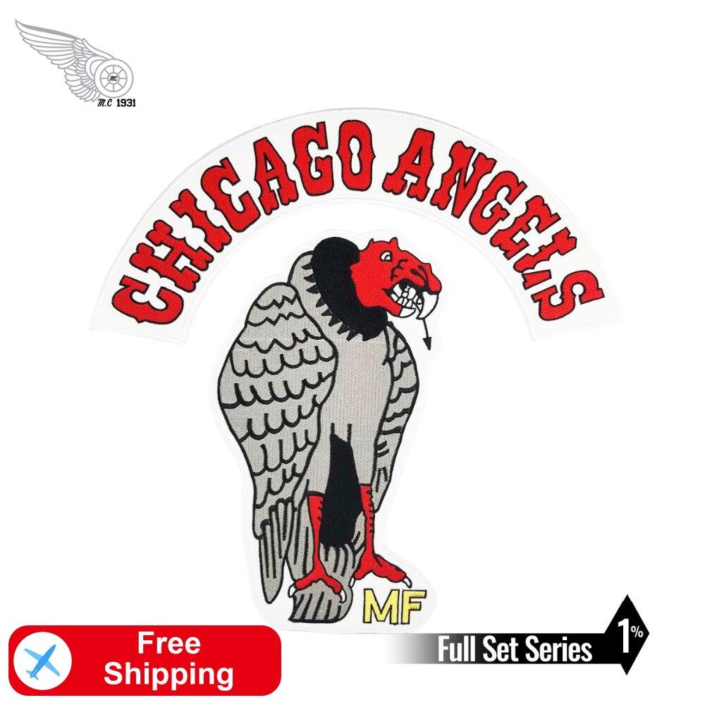 Chicago Angels motocicleta de águilas Club de hierro en el conjunto completo de accesorios bordados parches para ropa Applique Rider Biker Garment