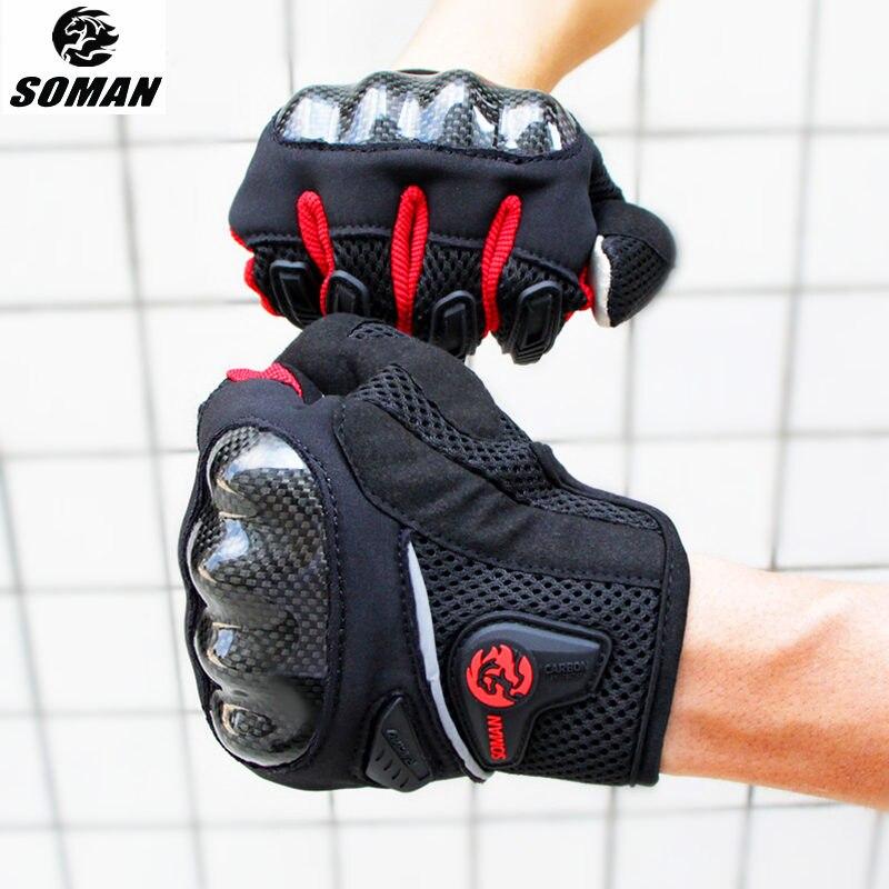 SOMAN Carbon Fiber Motorcycle Gloves Summer Moto Gloves Men Motorbike Gloves Motocross Gants Moto Femme Guanti Moto Luvas MG19