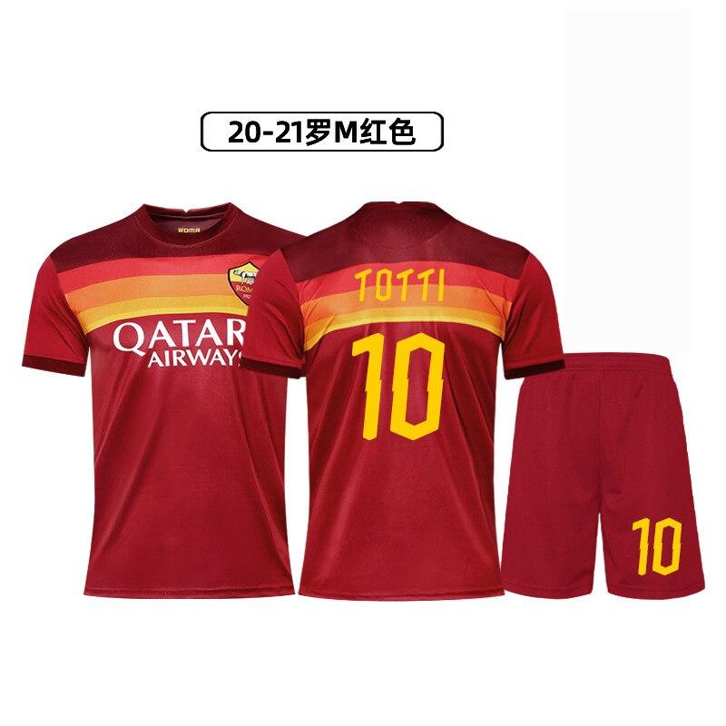 Nuevo estilo camiseta de la Roma Home 10 Totti 9 Dzeko 92 ensalada dimensión juego de traje de fútbol