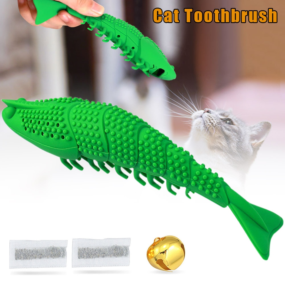 Cat Toothbrush Chew Catnip Toy Crayfish Shape Kitten Teeth Cleaning Dental Care DTT88