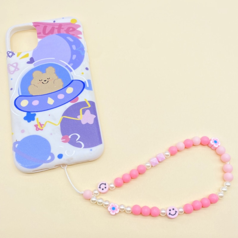 The latest hot style pink acrylic mobile phone chain mobile phone ornaments mobile phone rope anti-drop hanging rop y2k