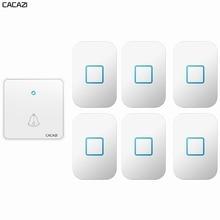 CACAZI Wireless Doorbell Waterproof 300M Remote CR2032 Battery 1 Transmitter 6 Receiver US EU UK Plu