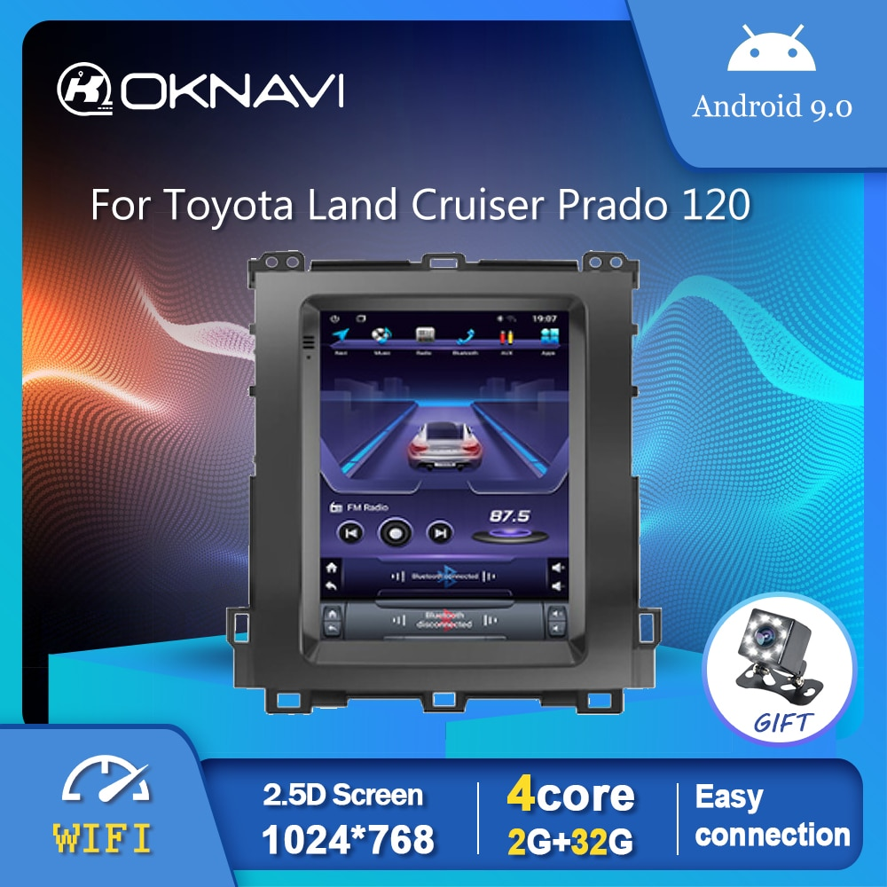 Tesla Style Car Radio Player For Toyota Land Cruiser Prado 120 2002-2009 GPS Stereo Android 9.0 OBD Rear View No 2 din DVD 9.7 android tesla radio car multimedia player gps navigation for toyota land cruiser prado 2002 2009 vertical touch screen radio dvd