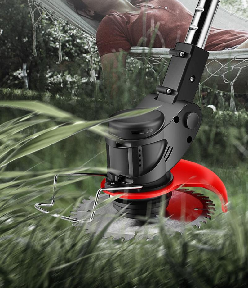 Adjustable Length Portable Electric Lawn Mower Household Handheld Lawn Mowers Cordless Agricultural Garden Trim Electric Tools