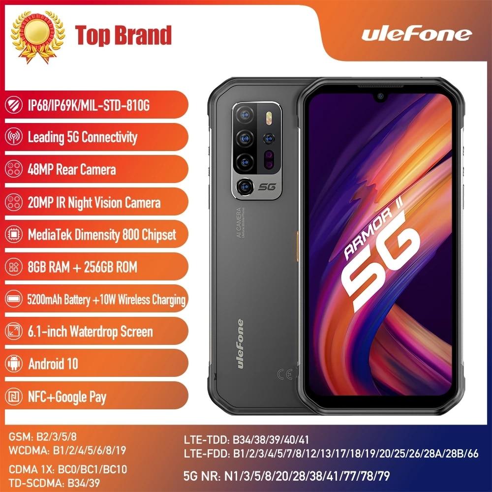 Перейти на Алиэкспресс и купить Ulefone Armor 11 5G прочный мобильный телефон 8 ГБ + 256 ГБ Android 10 водонепроницаемый смартфон 48MP 5200 мАч NFC Беспроводной зарядный телефон