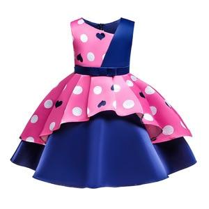 Asymmetrical patchwork Vintage Kids Birthday Clothes Polka Dot Heart Print Princess Party Dress Girls 3 4 5 6 7 8 9 10 12 Years