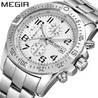 megir new fashion luminous trend mens watch stainless steel multifunction three eye watches chronograph running seconds 2030g