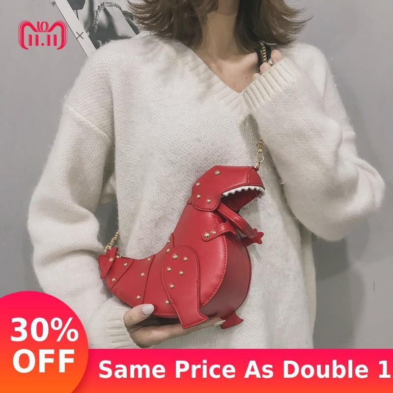 Фото Женские сумки с забавными мультяшными динозаврами сумка на плечо заклепками