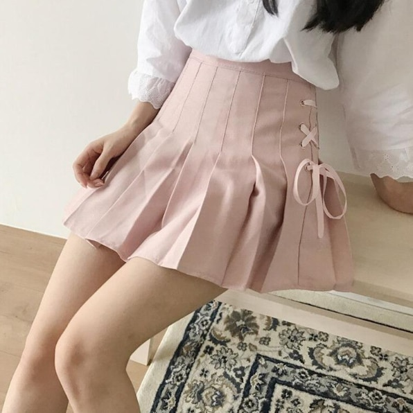 Japanese Summer Women Mini Skirt High Waist White Black Pink Female Saia Bandage Preppy Style Kawaii Pleated Cute Skirt DB404
