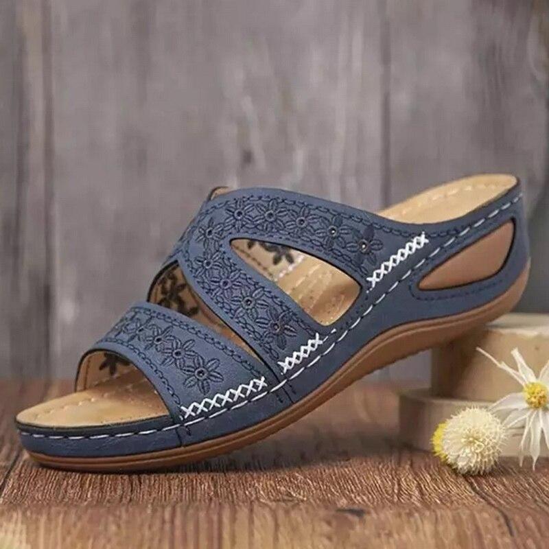 New Summer Slippers Women Floral Print Ladies Wedges Shoes Comfortable Outdoor Beach Flip Flops Non Slip Platform