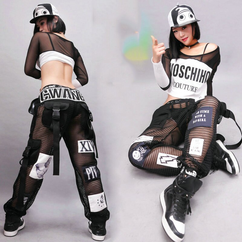 الجاز أزياء رقص موضة مثير شبكة السراويل الهيب هوب ملابس الكبار الشارع الرقص بنطلون ملهى ليلي المرحلة الحديثة الزي DT1073