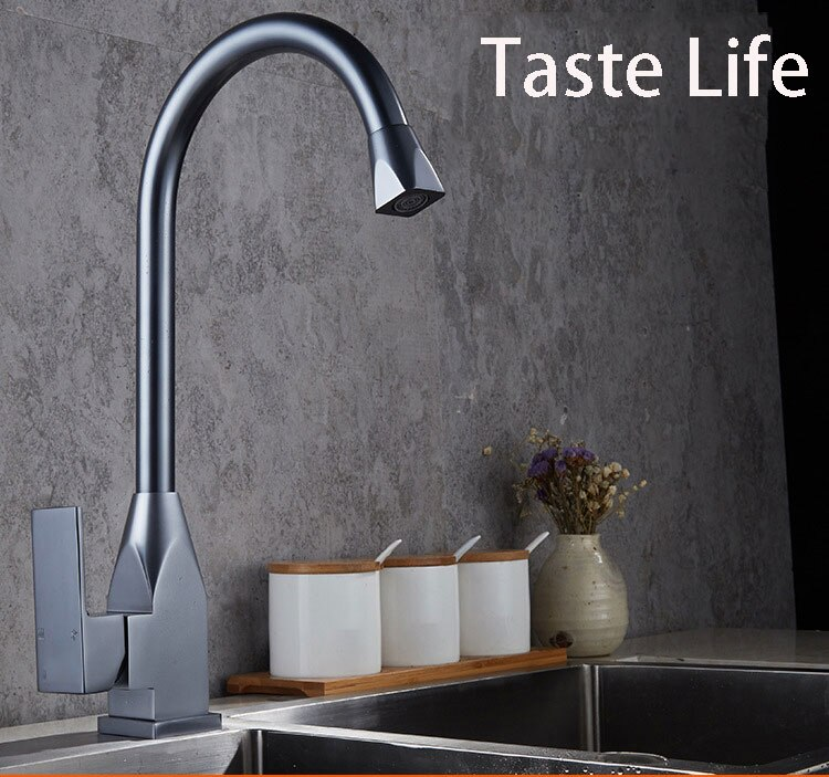 Grifo gris de lujo para cocina, grifo mezclador para fregadero de cocina de calidad superior, grifo de agua de un solo agujero, grifo de agua del fregadero para Cocina
