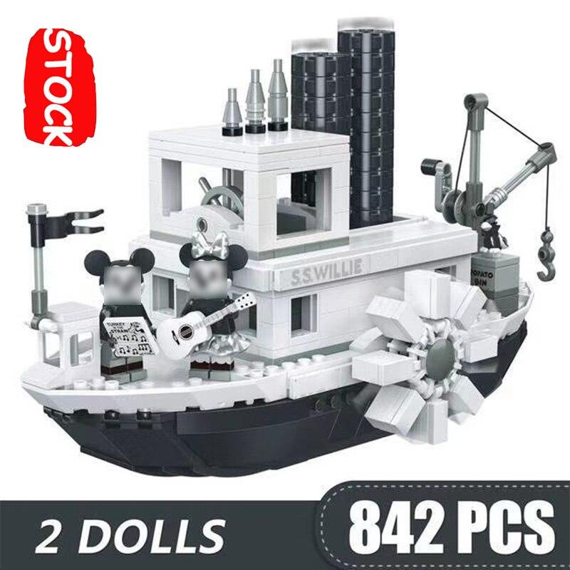 Steamboat willie 842 p barco navio playmobil filme s. s. willie figuras conjunto lepinblock brinquedos presente lepining blocos de construção idéias 21317