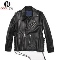 genuine leather men short coat solid black fashion motorcycle biker jacket top brand streetwear sheepskin slim jacket winter