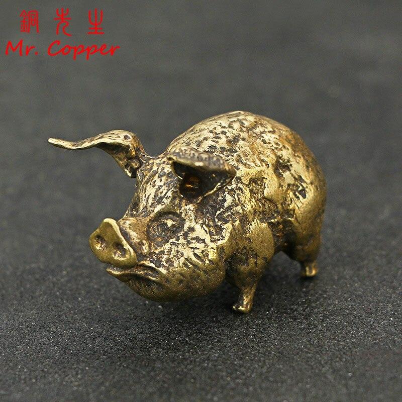 Retro cobre chino 12 Zodiaco cerdo volador estatua hogar Decoración latón antiguo Animal de la suerte estatuilla pequeña mesa escritorio ornamentos