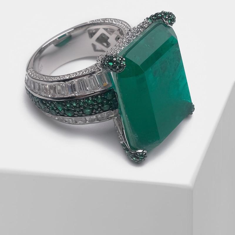 Amorita بوتيك الحفر الكامل تصميم مربع خاتم الموضة